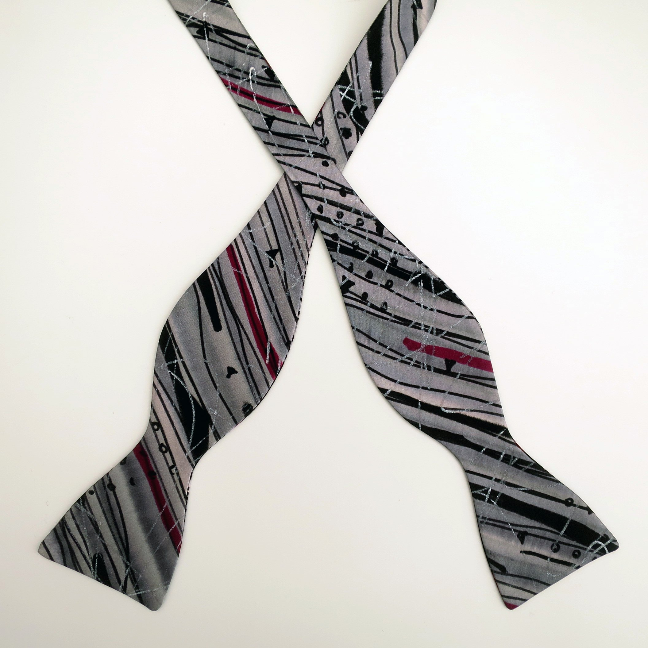 100% Silk Hand-Painted Hand-Made Men's Self Tie Bow Tie ''Snake River'' Art to Wear by Murphyties