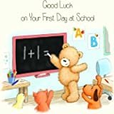Twizler Popcorn The Bear First Day At School Card with Chalkboard, Dog, Duck and Cat - Girls First Day At School Card - Boys First Day At School Card - Cute Card - New School Card - Good Luck Card - Back to School Card - First Day At School Gifts