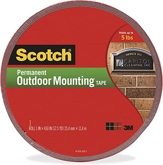Scotch Permanent Outdoor Mounting Tape 1 in Holds 5 lbs x 60 in Pack of 2