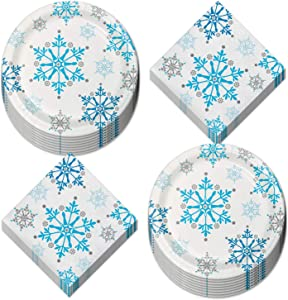 Winter Snowflake Dessert Paper Plates and Beverage Napkins - Frozen Party Decorations and Snow Princess Party Supplies (Serves 16)