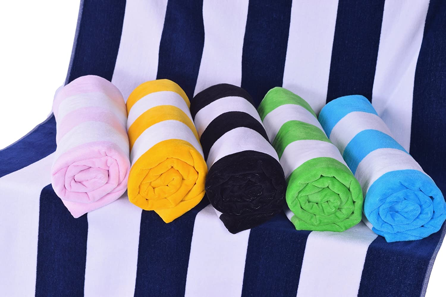 Puffy Cotton Beach Towel Set of 1 XL Extra Large Cabana Stripe Beach Towels 100/% Turkish Cotton Oversized Soft and Absorbent Pool Velour Top Round Circle Loop Terry Cloth Lime Green