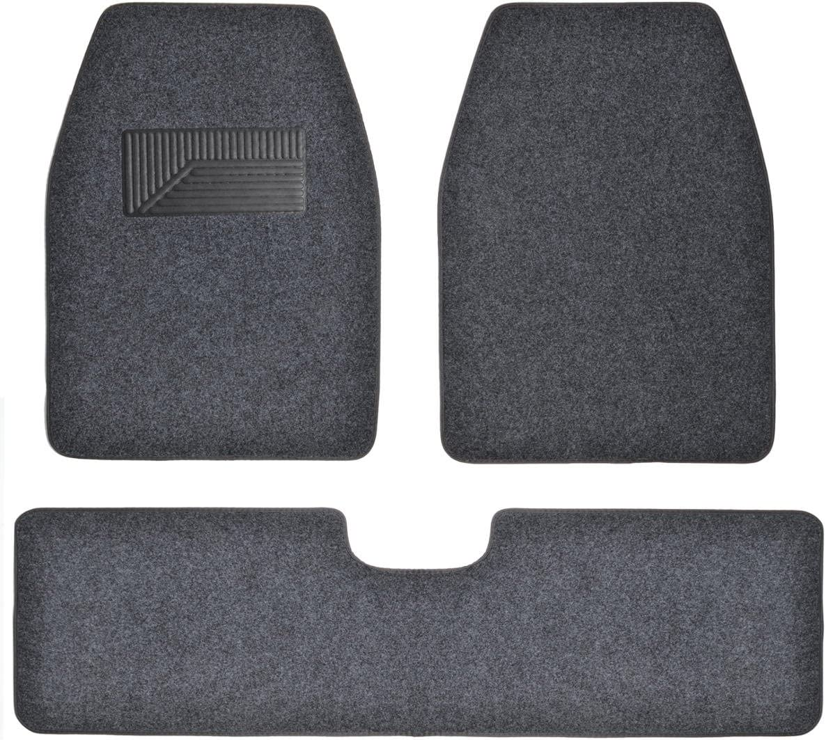 BDK 3 Pieces Heavy Duty Carpet Floor Mats for CAR SUV Van - Extra Thick Carpet with Rubber Backing Multiple Colors (Dark Gray)