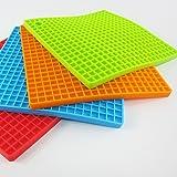 Woogor Square Shape Silica Gel Anti Hot Heat Resistant Pot Holder ,Car Dashboard Anti Slip Resistant Pad Dining Table Mat,Set Of 4