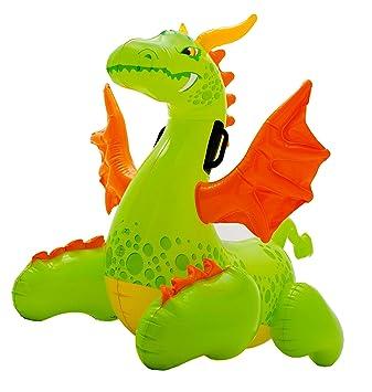 INTEX - Figura dragón hinchable con asas, 140 x 69 cm