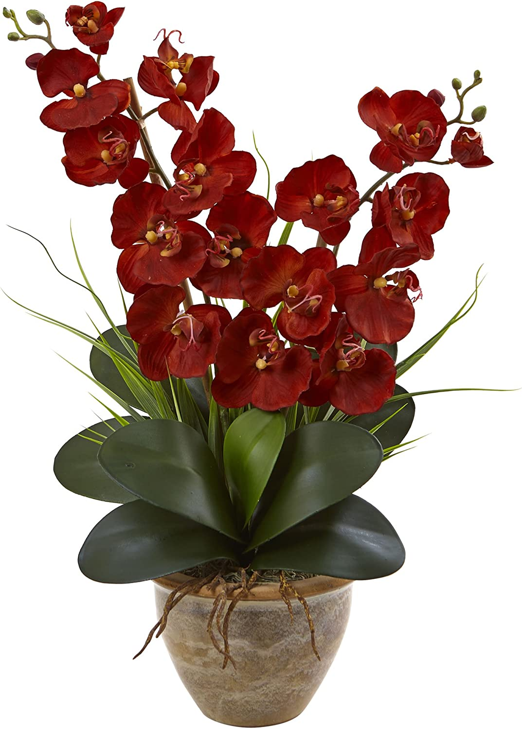 Dark Red Faux Orchid Plant (Phalaenopsis) in a Ceramic pot