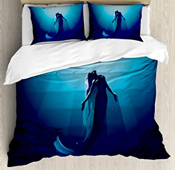 Twin /& Queen Size Mermaid Swimming Under a Full Moon Duvet Cover Bedding Set