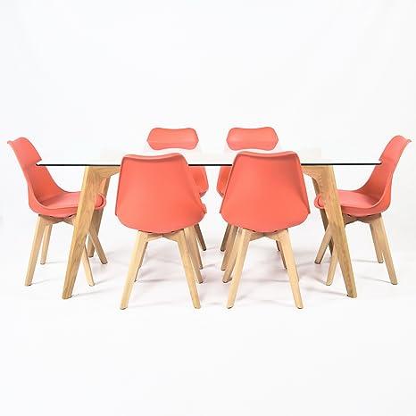 Sedie Rosse Trasparenti.Charles Jacobs Lounge Da Cucina Tavolo Da Pranzo Con Set Di