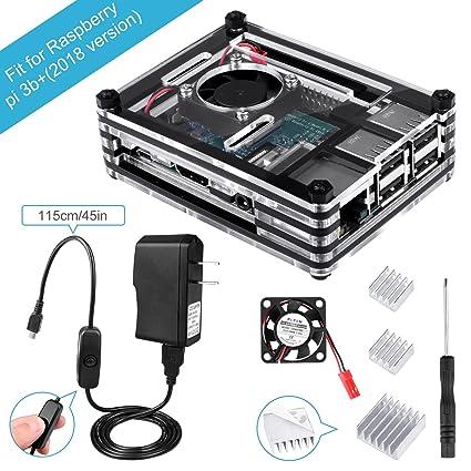 BONROB Raspberry Pi 3 B+ Case with Fan + 2 5A Power Supply + 3 Pcs  Heatsinks +On/Off Switch for Raspberry Pi 1 2 3 Mobel B Pi3 B+ BS001  (BS001-US)