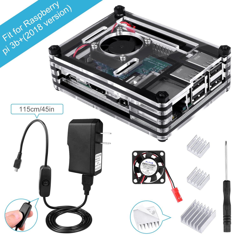 BONROB Raspberry Pi 3 B+ Case with Fan + 2.5A Power Supply + 3 Pcs Heatsinks +On/Off Switch for Raspberry Pi 1 2 3 Mobel B Pi3 B+ BS001
