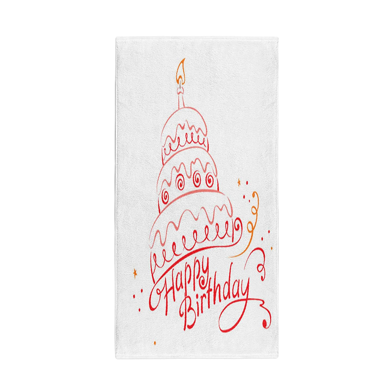 Pinbeam Bath Towel Red Congratulations Cake Ans Happy Birthday Letters Celebration Towel Beach Towel