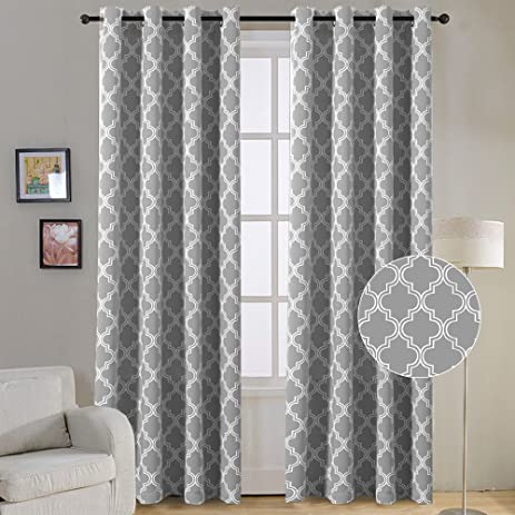FlamingoP Room Darkening Moroccan Tile Quatrefoil Blackout Top Grommet  Unlined Thermal Insulated Window Curtains, Set