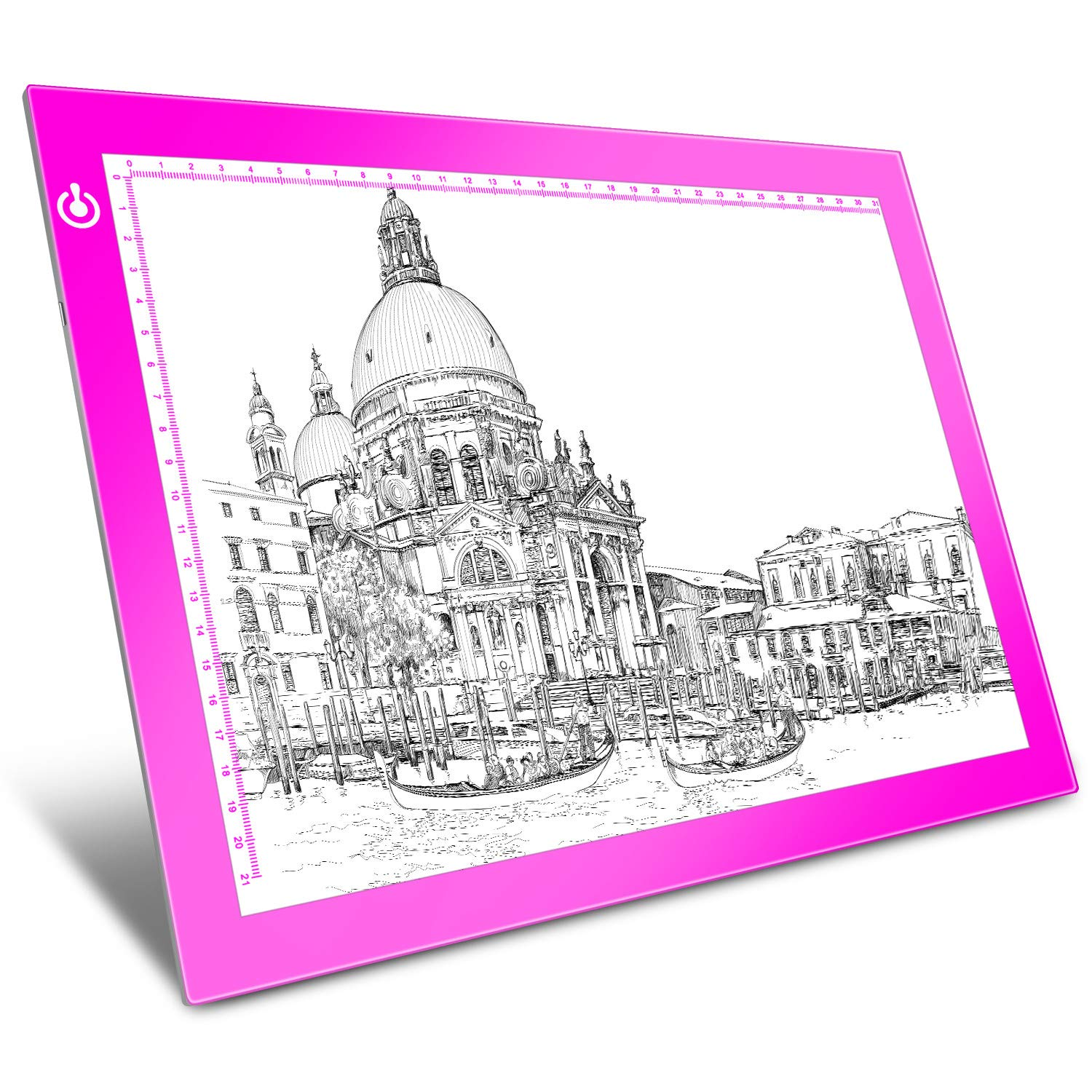 Pink A4 Dimmable LED Artcraft Light Box Tracer Slim Light Pad Portable Tablet, USB Power Cable Copy Drawing Board Tracing Table for Artists Designing, Animation, Sketching, Stenciling X-ray Viewing by LooEooDoo