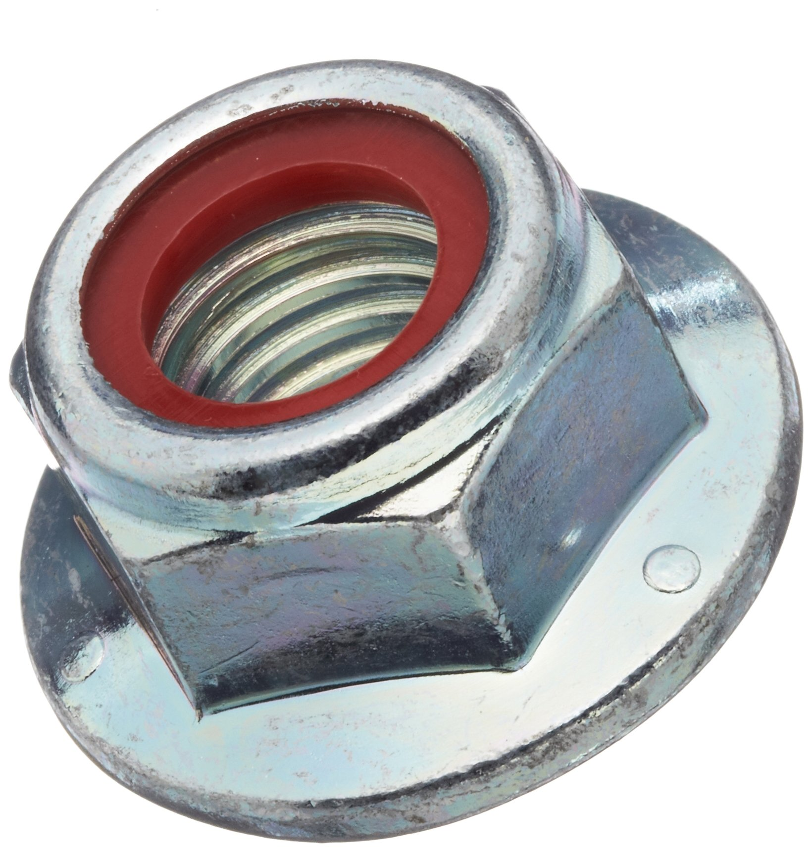 Steel Flange Nut, Zinc Plated Finish, Grade 2, Self-Locking Nylon Insert, Right Hand Threads, 1/2''-13 Threads, 0.866'' Width Across Flats (Pack of 25) by Small Parts