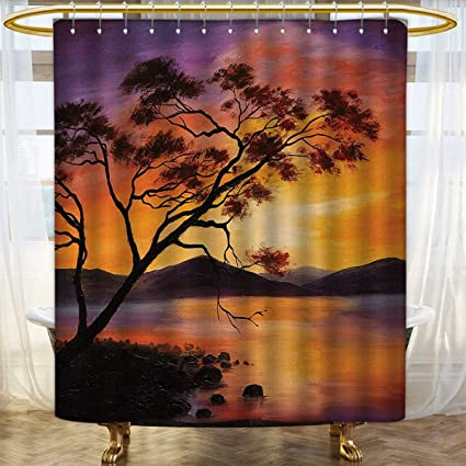 Anhounine Country Shower Curtains Fabric Extra Long Picture Of Old Tree Bending Over River With Mountain