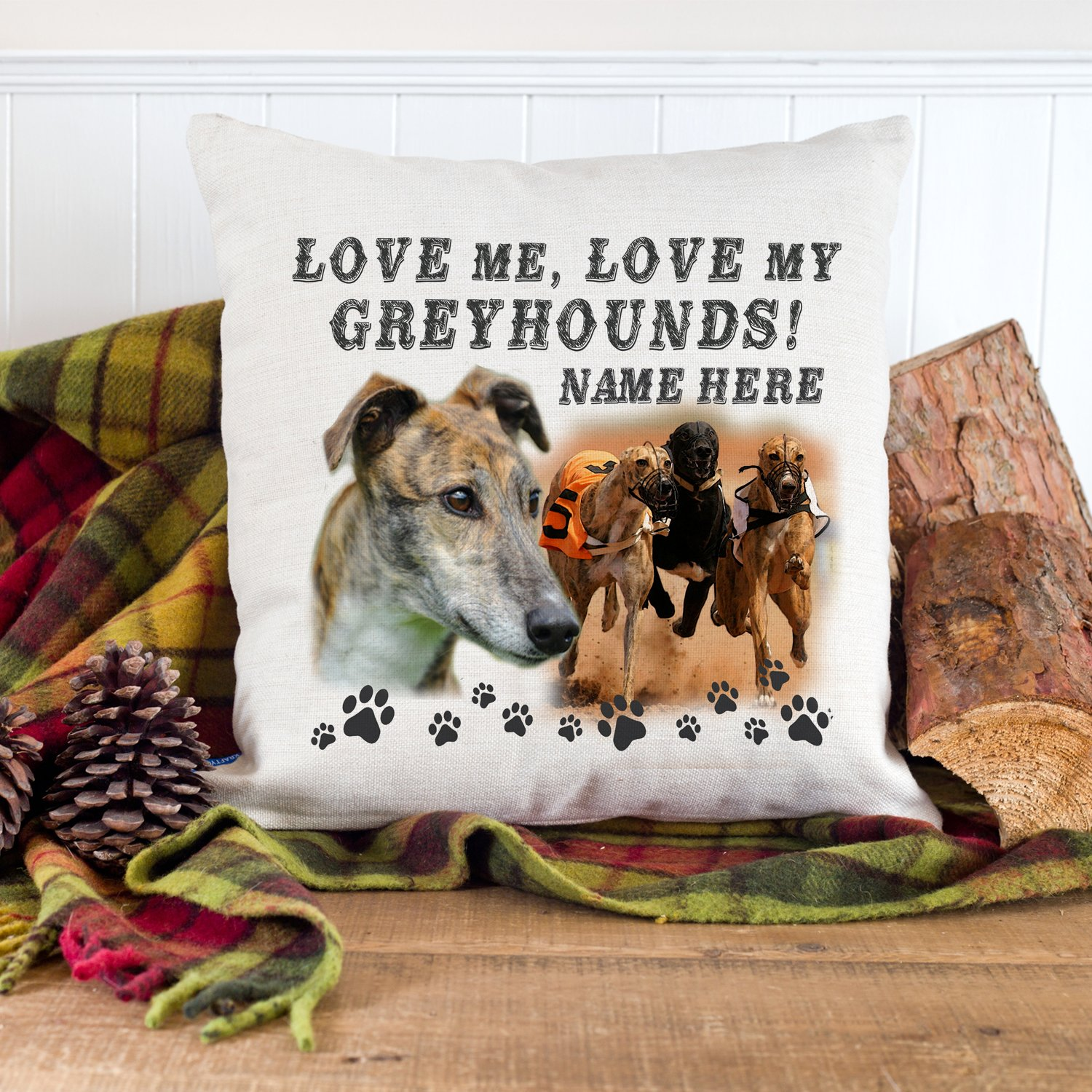 KRAFTYGIFTS Personalised Racing Greyhounds Dog Cushion Pillow Cover Love Quote Puppy Pet Gift