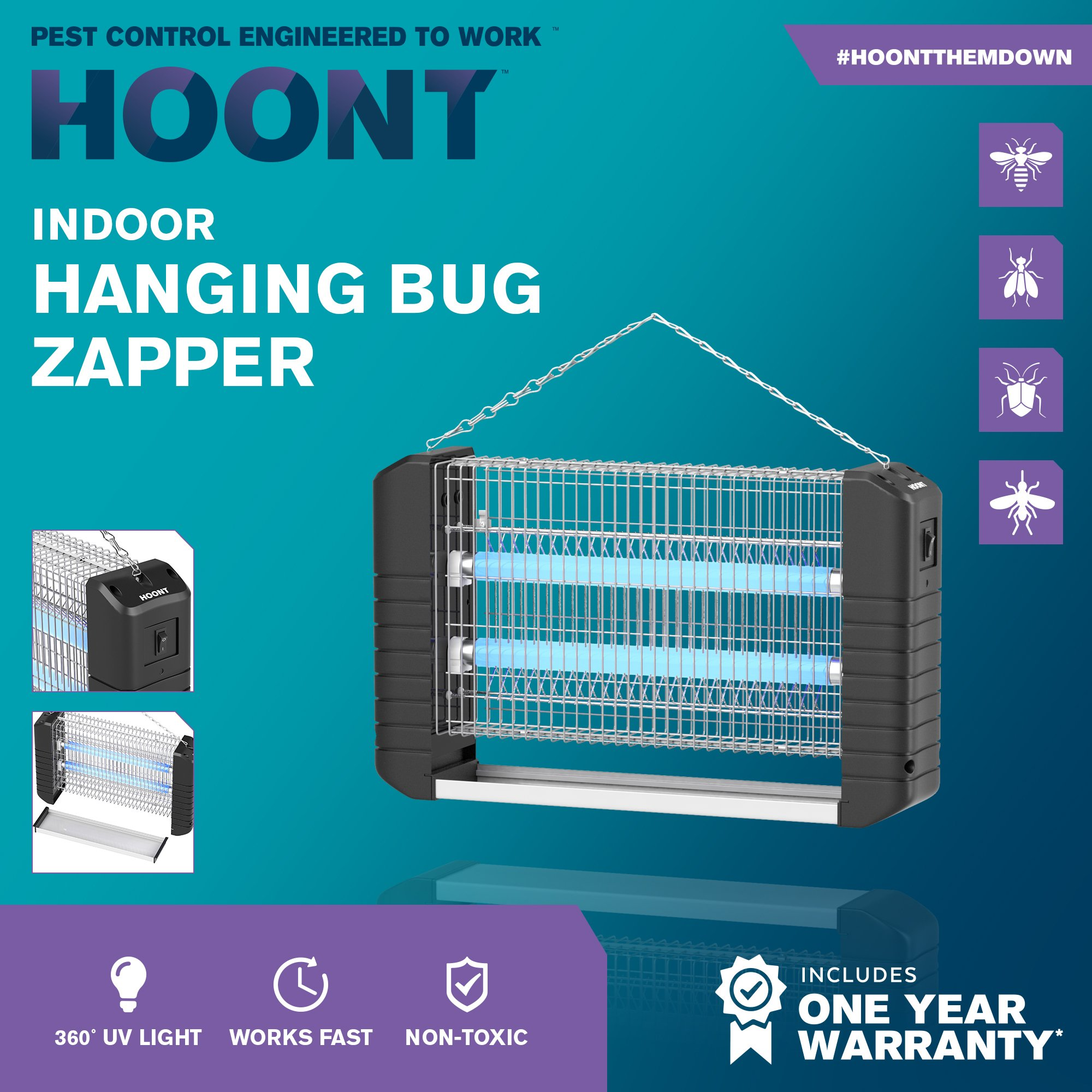 hoont powerful electric indoor bug zapper and fly zapper catcher