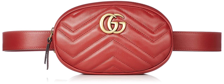 [グッチ] ウエストバッグ レディース GG MARMONT 2.0 ベルトバッグ 並行輸入品 [並行輸入品]  HIBIS RED B07G4K6MYK