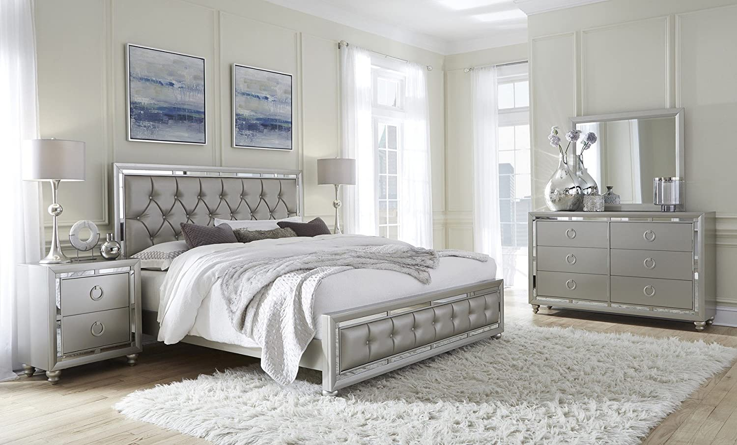 Global Furniture QB Riley Tufted Bed, Queen, Silver RILEY-QB