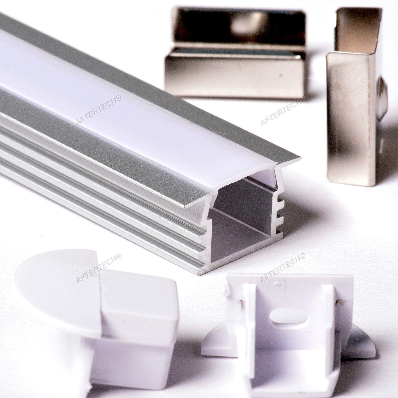 Aftertech/® 2212 cubierta 1 m perfil de gu/ía Perfil de aluminio empotrable de 1 m para tiras LED de barra r/ígida