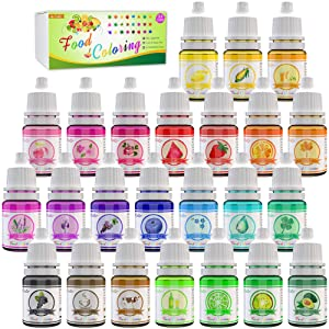 24 Color Food Coloring - Variety Rainbow Cake Food Coloring Set for Baking, Decorating, Icing and Cooking - Vibrant Liquid Food Color Dye for Slime Making Kit and DIY Crafts - .25 fl. oz. Bottles