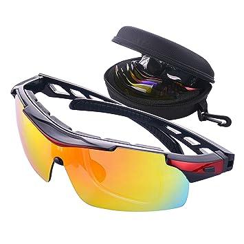 Gafas de Ciclismo Unisex Gafas de Sol de Deportivas Bici Polarizadas 5 Lentes Intercambiables para Hombre