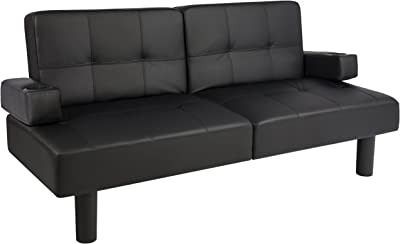 Leather Faux Fold Down Futon Lounge Convertible Sofa Bed Couch