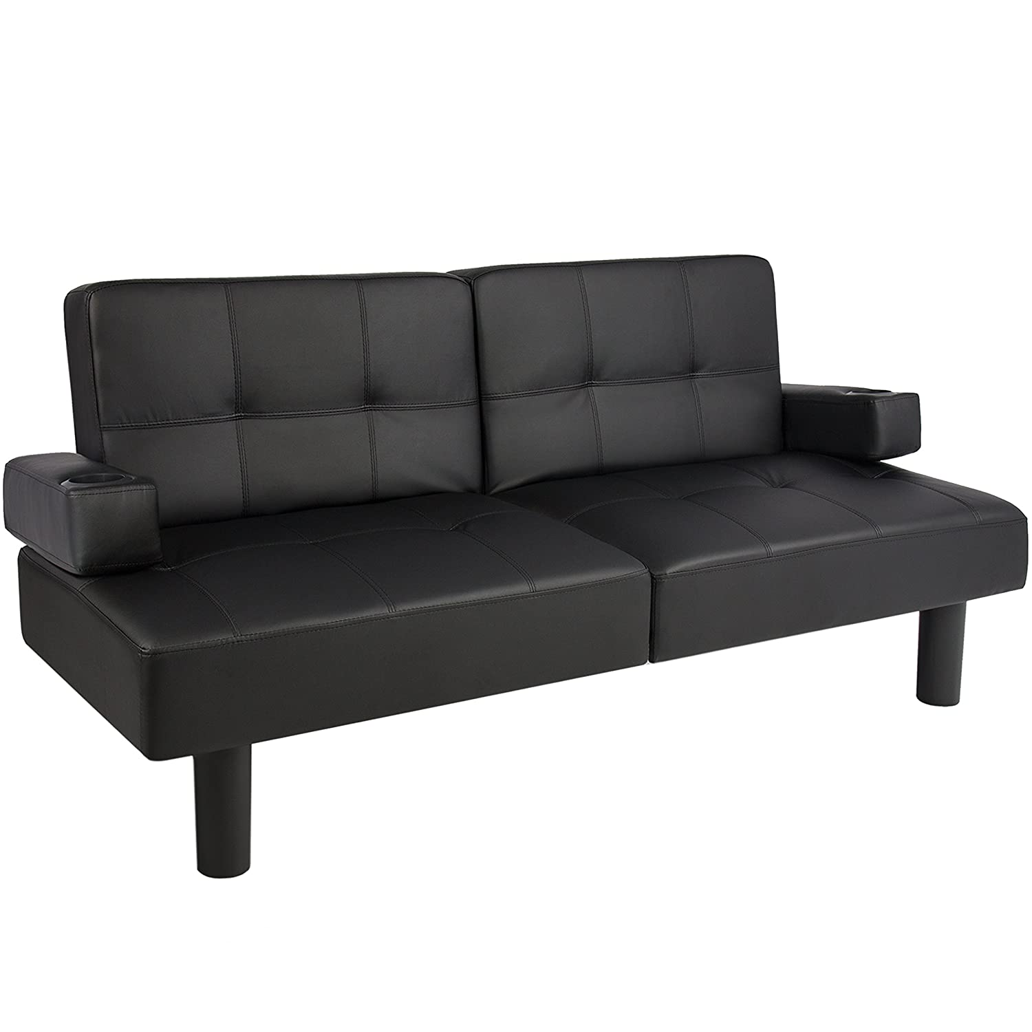 Best Choice Products Leather Faux Fold Down Futon Lounge Convertible Sofa Bed Ebay