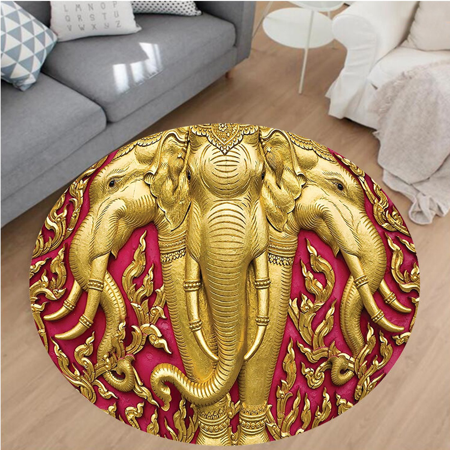 Nalahome Modern Flannel Microfiber Non-Slip Machine Washable Round Area Rug-nt Carved Gold Paint on Door Thai Temple Spirituality Statue Classic Image Magenta Golden area rugs Home Decor-Round 79'' by Nalahome