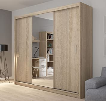 Fado Extra Large 235 Cm Mirrored 3 Door Wardrobe Closet Sliding