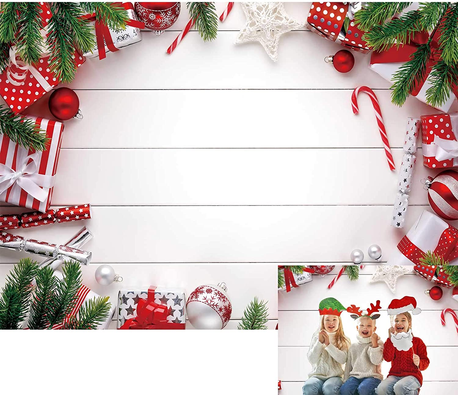 Allenjoy 7x5ft White Wooden Christmas Backdrop Green Pines Xmas Decorations Photography Background for Kids Children Baby Shower Birthday Party Decor Banner Portrait Photo Booth Props