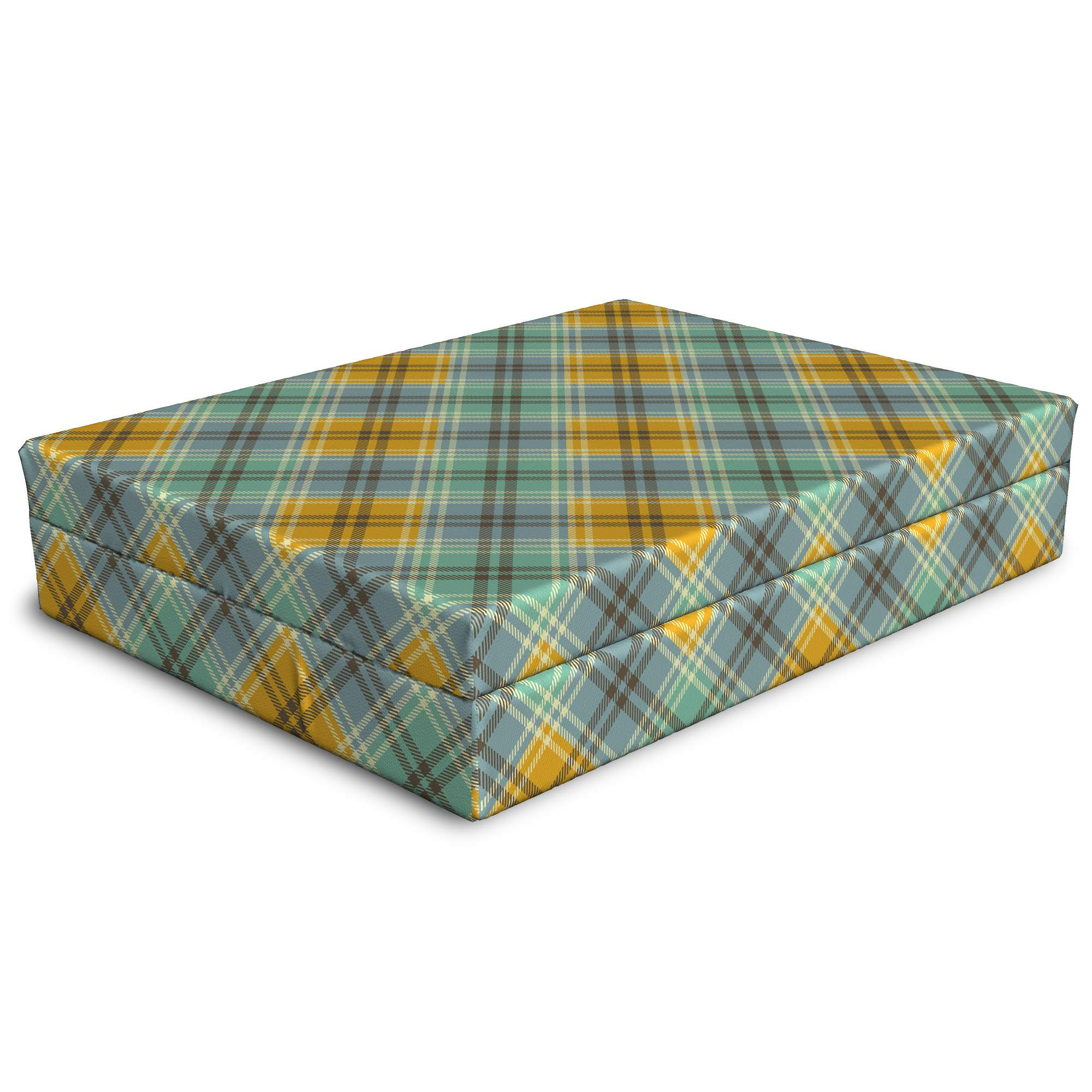 Lunarable Tartan Dog Bed, Continuous Pattern of Tricolor Traditional Rhombuses Classical Illustration, Dog Pillow with High Resilience Visco Foam for Pets, 32'' x 24'' x 6'', Multicolor by Lunarable (Image #1)