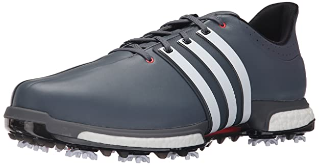 adidas Golf Men's Tour360 Boost Spiked Shoe,Grey/White/Shk Red,7 2E US