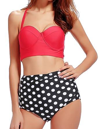 7a06ff96a91 Amazon.com: ADFOLF Retro Bikini Swimsuits For Women High Waisted Halter  Push Up Bathing Suits Polka M: Clothing