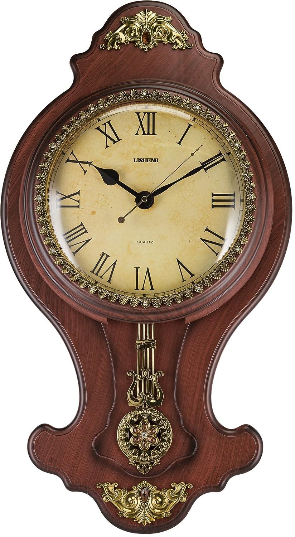 Amazon.com: Elegant Wall Swinging Pendulum Clock Faux Wood by ...