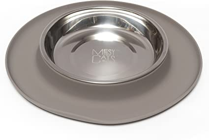 Messy Cats Single Silicone Feeder with Stainless Saucer Shaped Bowl