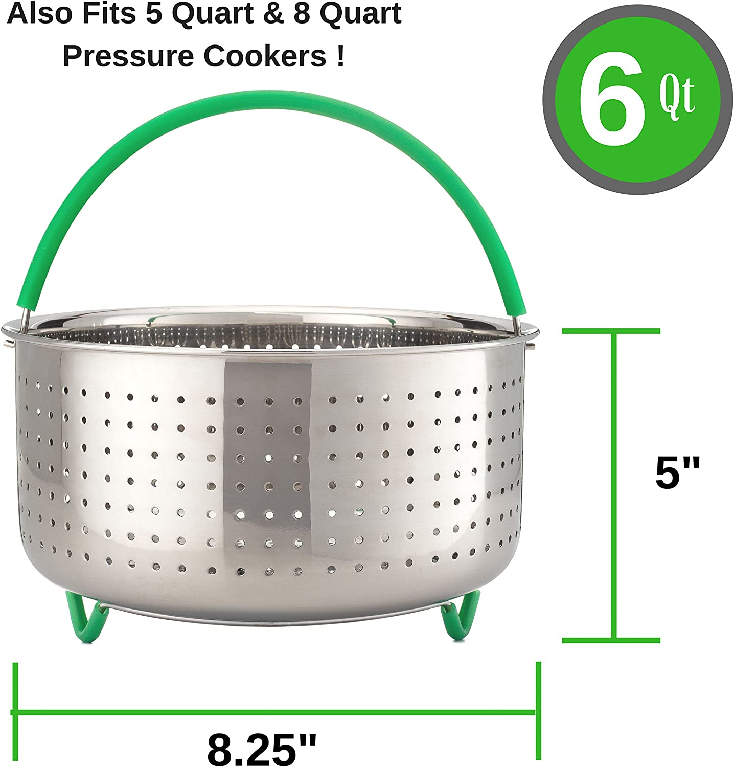 Fits Instapot The Original GREEN STEAM 6 qt Instant Pot Steamer Basket Insert Accessories Stainless Steel Other Pressure Cookers Silicone Handle /& Legs BONUS Recipe Book Also Fits 5qt /& 8qt PRIZE HOME