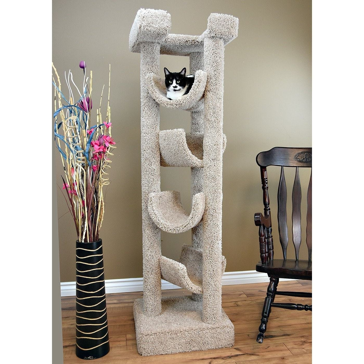 1 Piece Beige 72 Inches High Skyscraper Scratcher Cat Condo, Brown Pet Tree Perch Bed Kitty Tower House, Durable Four Cradles Elevated Stable Prevent Tipping Stationary, Carpet Sisal Rope Wood