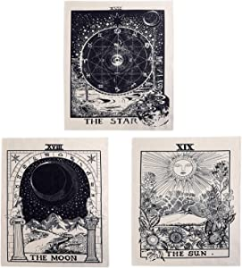 3Pcs Tarot Tapestry Wall Hanging Decor - Star Sun and Moon Tarot Card Tapestries Bohemian Room Decoration (Black&White, 20*16 in)