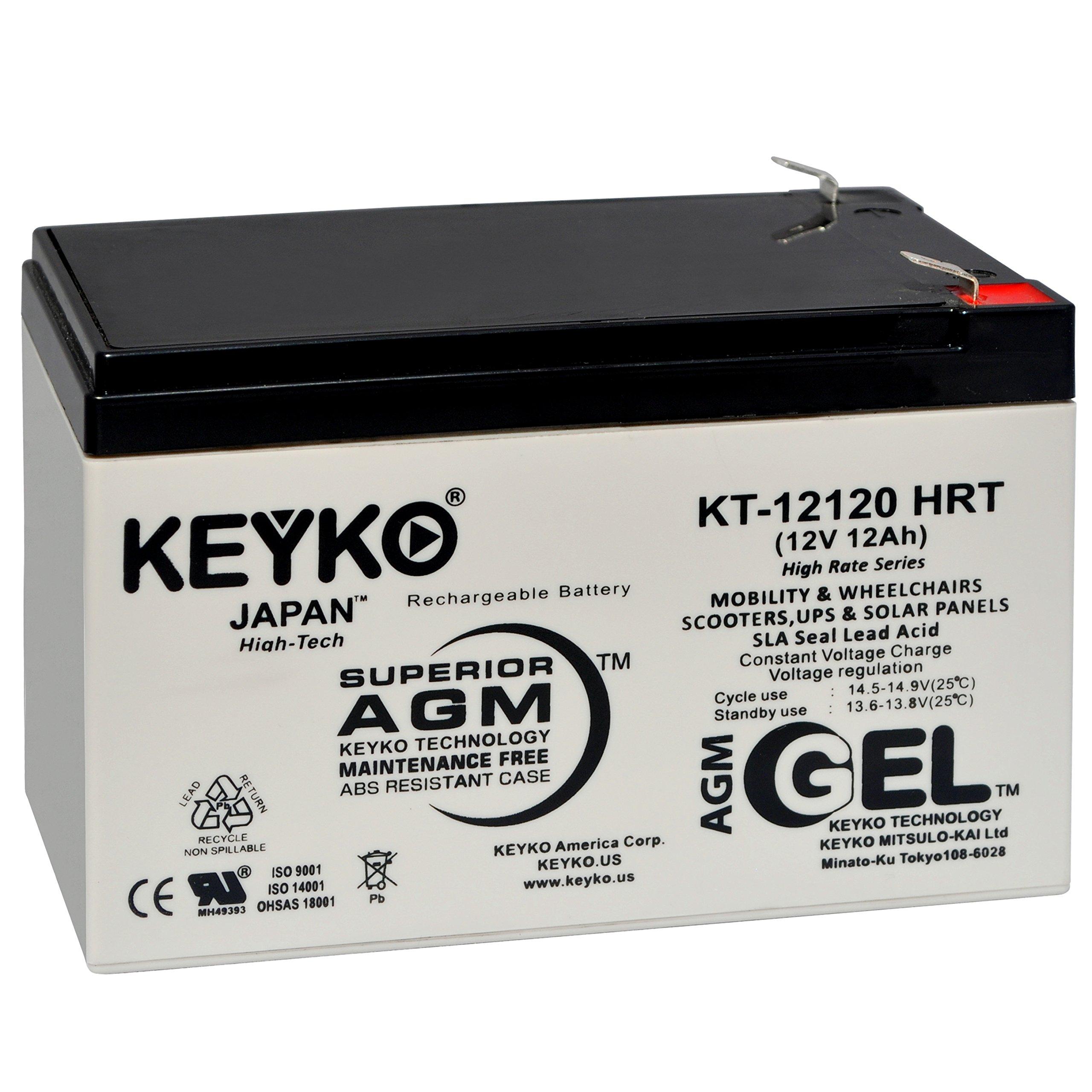 Razor MX500/MX650 Battery Pack W15128190003 12V 12Ah Battery - Fresh & Real 14.0 Amp - Gel Deep Cycle AGM/SLA Designed for Scooters - Genuine KEYKO KT-12120 HRT - F2 by KEYKO