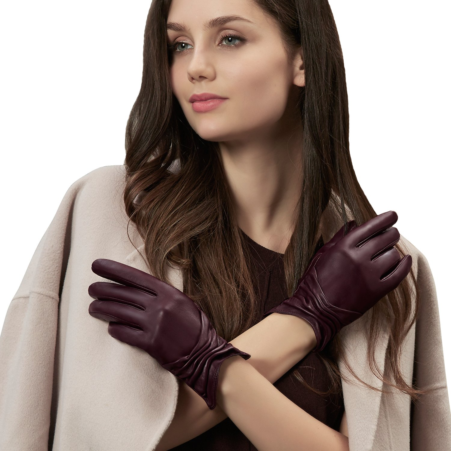 GSG 10%~15% OFF Womens Ruched Touchscreen Driving Leather Gloves Fish Mouth Cuff Ladies Warm Winter Outdoor Wine 7.5