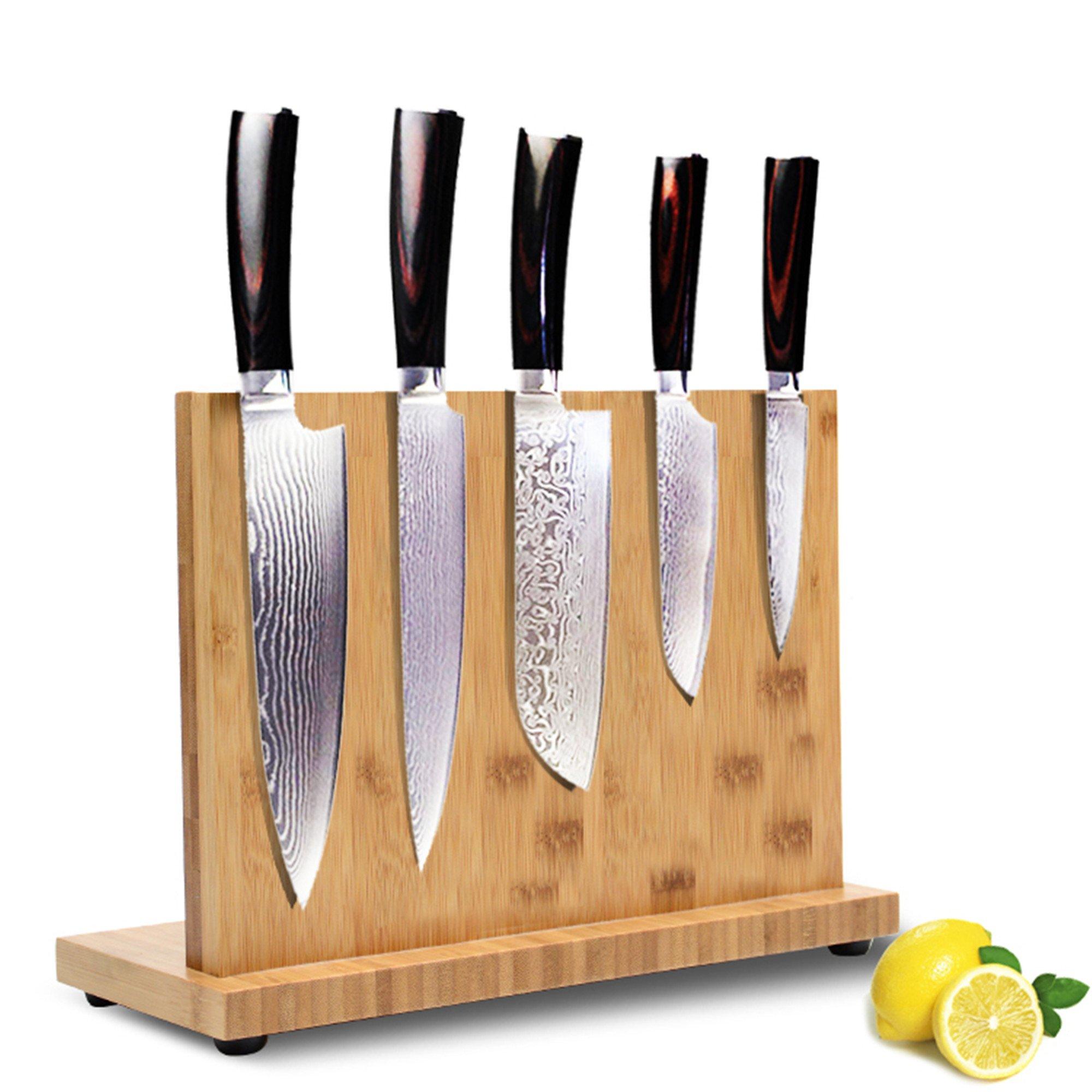 Bamboo Knife Blocks,Knife Block Rack Magnetic with Chopping Board Holder(Chopping Board Holder and knife Not inside) Double side Super Magnetic,Non-slip Design,11 inch (11 inche)