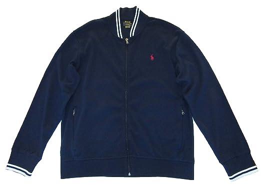 Blue Full Zip Jacket Mens Lauren Polo Bomber Cotton Ralph Interlock jqGSUVzMLp