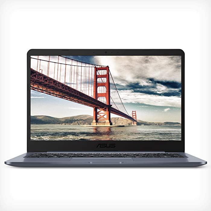 "ASUS Laptop E14 Thin & Light Laptop, 14"" FHD Display, Intel Pentium N5000 Quad-Core Processor up to 2.7 GHz, 4GB RAM, 128GB Storage, Fingerprint Reader, Windows 10 S, E406MA-DH21, Star Gray"