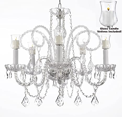 Crystal Chandelier Lighting Chandeliers W/ Candle Votives H25\