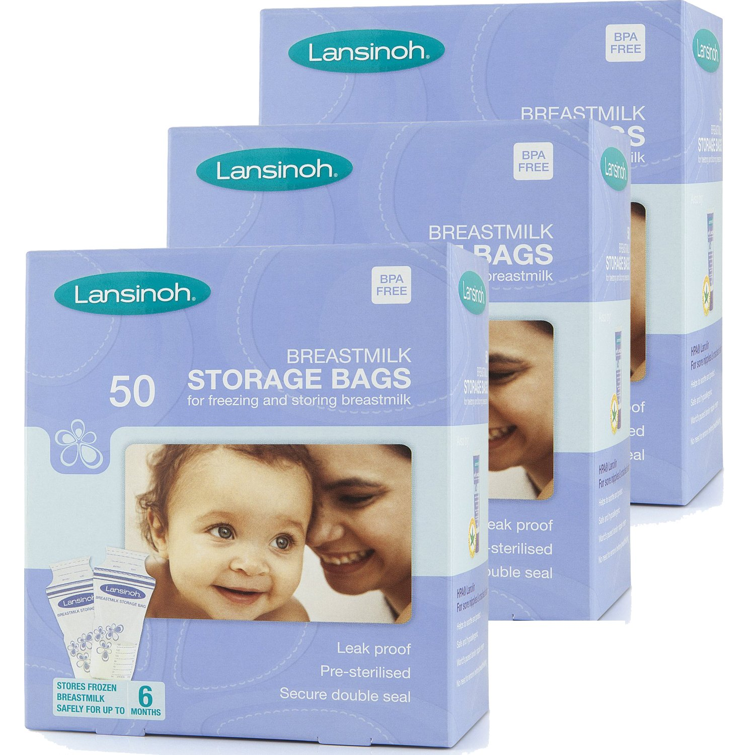 Lansinoh Breastmilk Storage Bags (50 Pieces) (Pack of 3) [Personal Care]