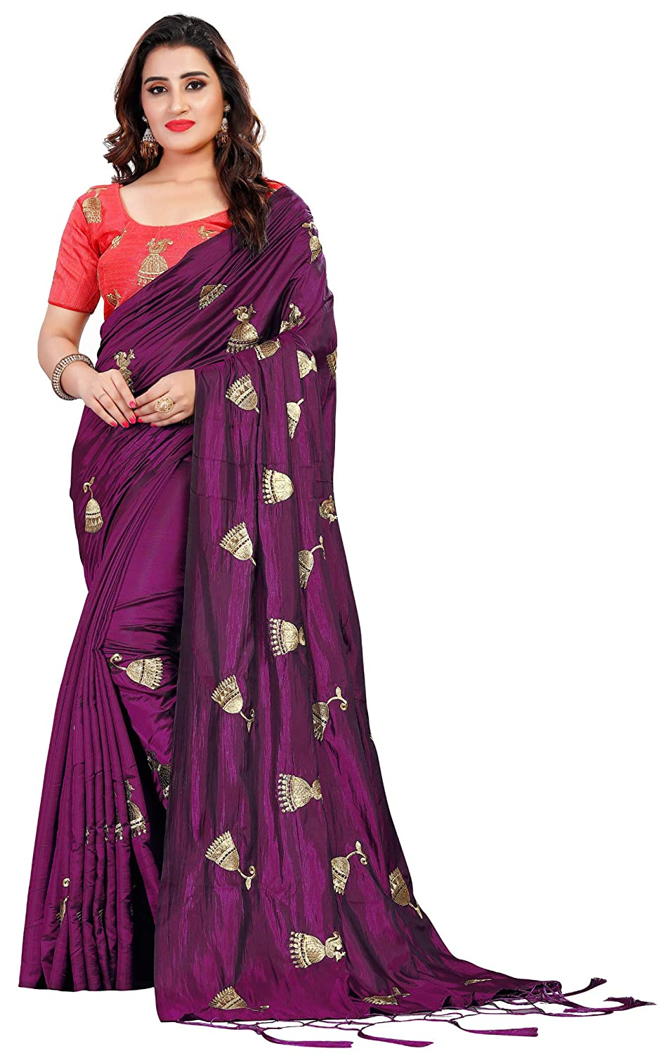 Vastrang Women's Paper Silk Embroidered Saree with Tassels & Blouse, 5459