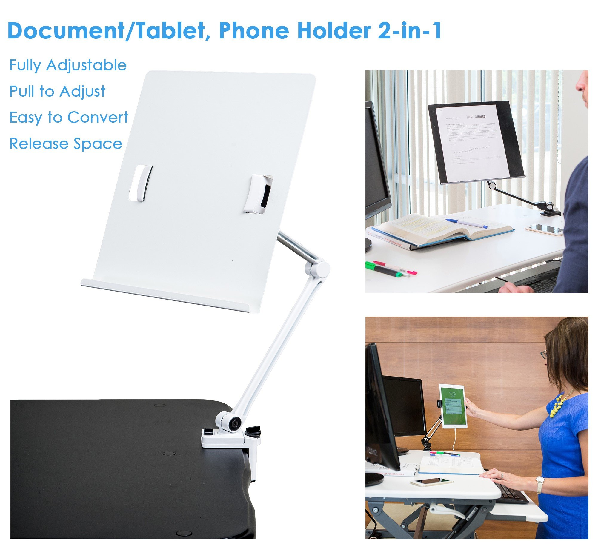 TrenDesks Document Copy Holder and Tablet/Cellphone Holder 2-in-1 (White), Full Motion, Pull to Adjust Height, Angle and Direction