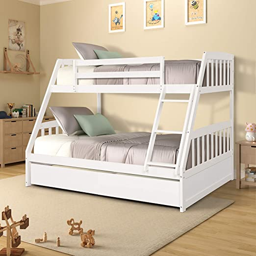 Amazon Com Twin Over Full Bunk Bed With Storage Drawers Weyoung Solid Wood Bunk Bed Frame With 2 Raised Panel Bed Drawers Separate To Twin Full Bed White Kitchen Dining
