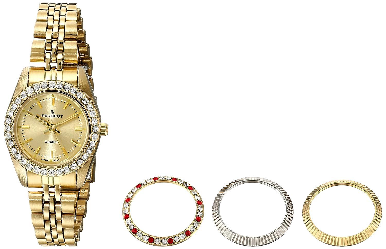 Peugeot Women s Gold Tone 4 Piece Interchangeable Bezel Set Watch 405G