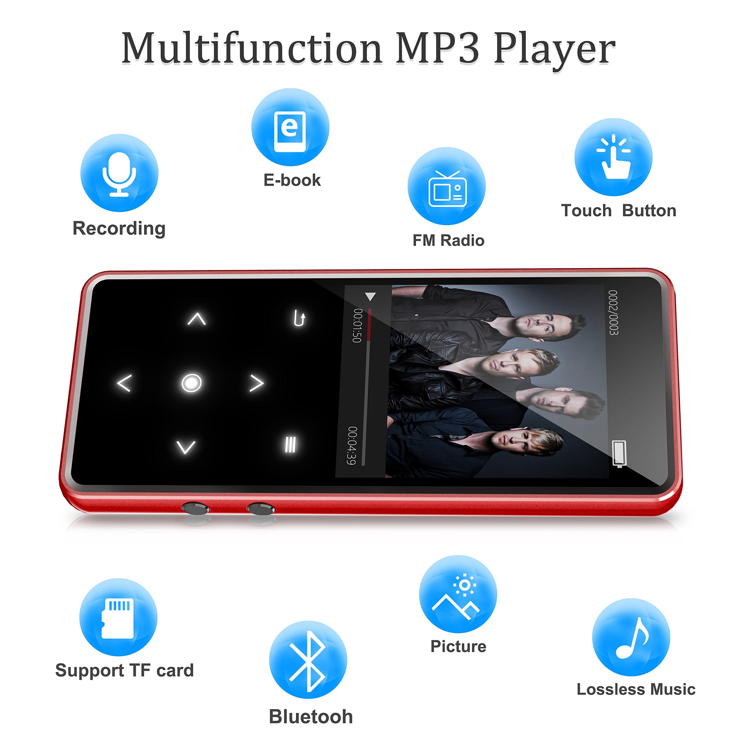 Bluetooth 4.0 MP3 Music Player,Valoin 16G Portable Lossless Sound Digital Audio Player with 2.4 inch HD Screen,50 Hours Audio Playback (Red)
